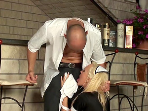 French Maid Has To Clean Up Her Mess