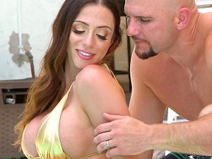 Strong guy finally talked Ariella Ferrera into fucking with him