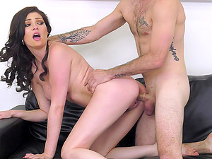 Horny neighbor talked Jessica Rex into pleasing his fat dick