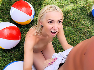 Good looking teen Chloe Temple gets to play with a dick outdoors