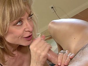 Blonde Nina Hartley likes it when a handsome guy drills her pussy
