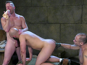 Hardcore gay threesome with military man fisting each other