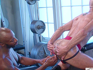Lubed up hardcore gay ass fisting with well hung guys
