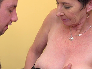 Short haired Elana S. knows what a naughty guy wants the most