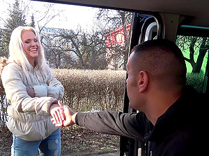 Stranded babe Kathy is picked up by a stranger and fucked in his car