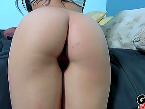 POV action with Alicia Tease's tits getting covered in cum