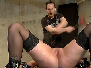 Blonde with stockings enjoys hot wax play and getting tortured