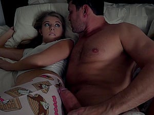 Handsome guy gets to fuck cute Alyce Anderson in middle of the night