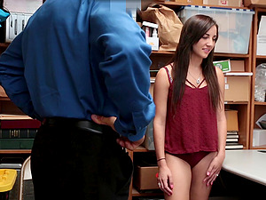 Security guard talked Jade Amber into fucking with him in the office
