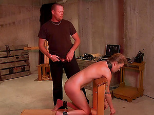 Brunette with a blindfold on gets spanked and forced to blow him