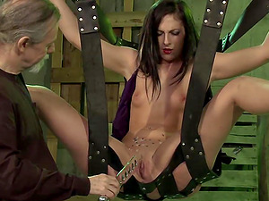 Dude tests his slave's limits with a dildo in hot BDSM action