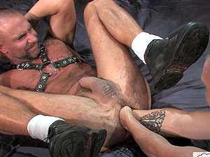 Gay guy gets his tattooed asshole fisted hardcore in the dungeon