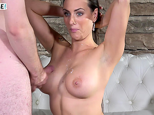 Brunette Mea Melone's huge tits are covered in hot sperm