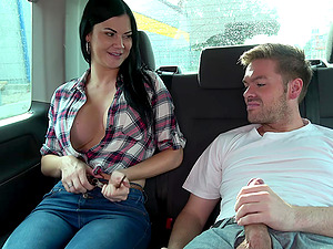 Jasmine's huge tits bounce while she is fucked in the car