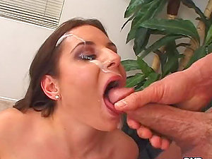 Ariana Jollee inhales a man sausage and gets spunk on her face and tits