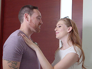 Slim cutie Maya Kendrick lets a naughty guy drill her tiny cunt