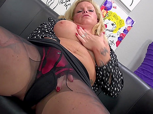 Ravishing blonde mature MILF Gina O. undresses at her office