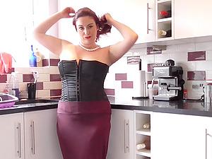Redhead mature amateur British MILF Scorpio strips in the kitchen
