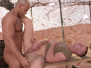 Military gay men get horny in the field so they fuck each other