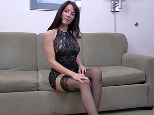 Beautiful skinny brunette MILF babe Olivia Belle stuffs her pussy
