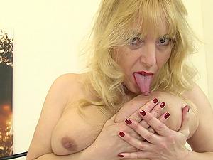 Blonde mature amateur British granny Lucy Gresty masturbates