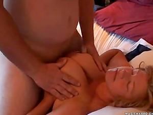Husband tittyfucks wife early in the morning