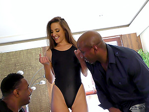 Two black guys get to fuck a brunette in various positions