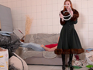 Zara Durose gets to dominate her man while wearing a latex outfit