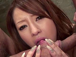 Submissive Asian bimbo Ria Sakurai gangbanged b
