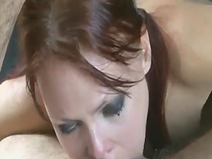 Sloppy deepthroat and facial from hot redhead
