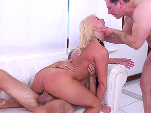 Big boobed MILF throat & pussy roughed