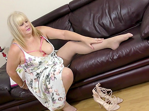Buxom blonde mature British BBW MILF Crystal Maidstone masturbates