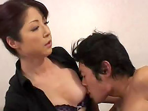 Japanese mature woman gives nasty rubdown and fucks hard man sausage