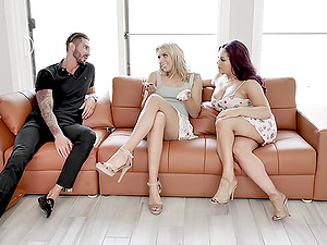 Hardcore threesome with busty MILF babes Chanel Grey and Quinton James