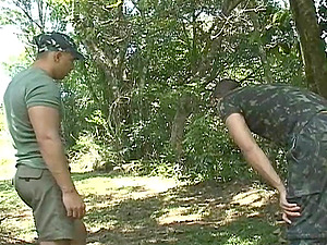 Military gay men fuck on a field mission in the forest