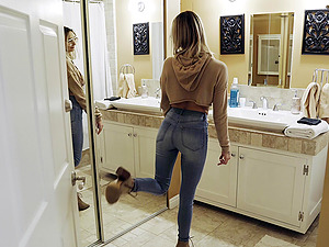 Hardcore doggy style fuck in the bathroom for a blonde Chloe Temple
