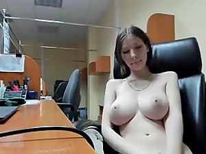 Hot mommy has a lot of fun at work fingering and playing with her pussy