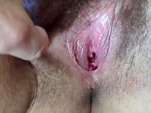 Fondling a big hairy wifes pussy