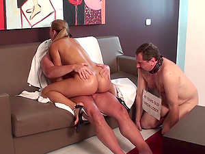 Dominant Fetish bitches fuck in front of cuckold