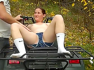 Hardcore outdoor reality couple fuck on a picnic table in the woods