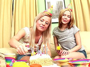 Slutty babes Sandy and Chair open up their assholes for a big cock
