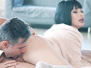 Brunette babe MIYABI pussy and ass fucked missionary