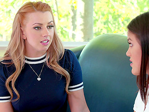 Teen lesbian babes Lexi Belle and Kendra Spade finger each other
