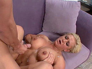 Blonde bombshell Cali Cassidey gets her tits cum covered after fucking