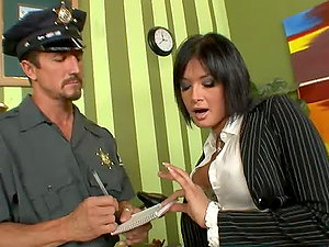 Tattooed dark haired mummy Tory Lane fucks a traffic cop