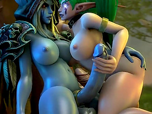 Compilation of Warcraft heroes getting drilled in pussy by orcs and futanari dolls
