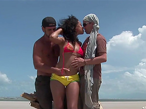 Brazilian beach threesome