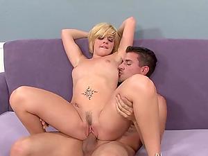 Tattooed slut Haileey James has her round big ass cum covered