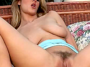 Jane Darling the whorey blonde drills her vagina with a faux-cock