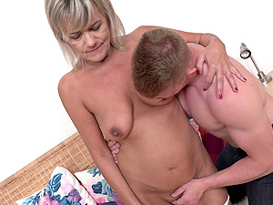 Amateur mature blonde MILF Cherry striped and fucked missionary style